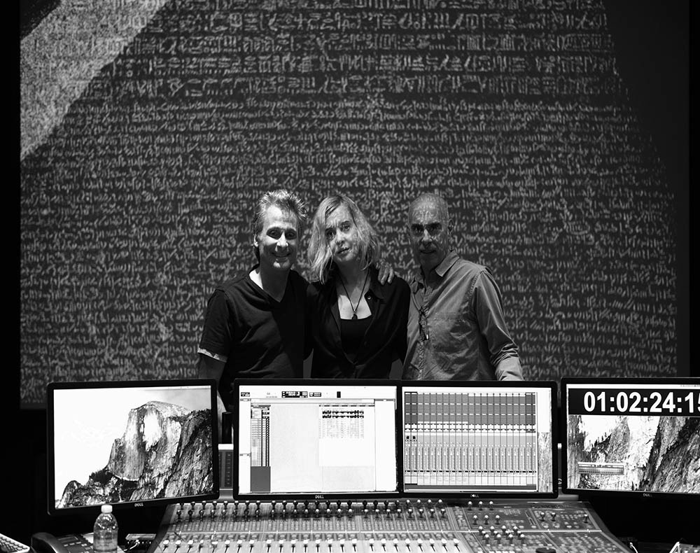 Artist Lena Herzog (centre) with composers and sound designers Mark Mangini (L) and Marco Capalbo (R).