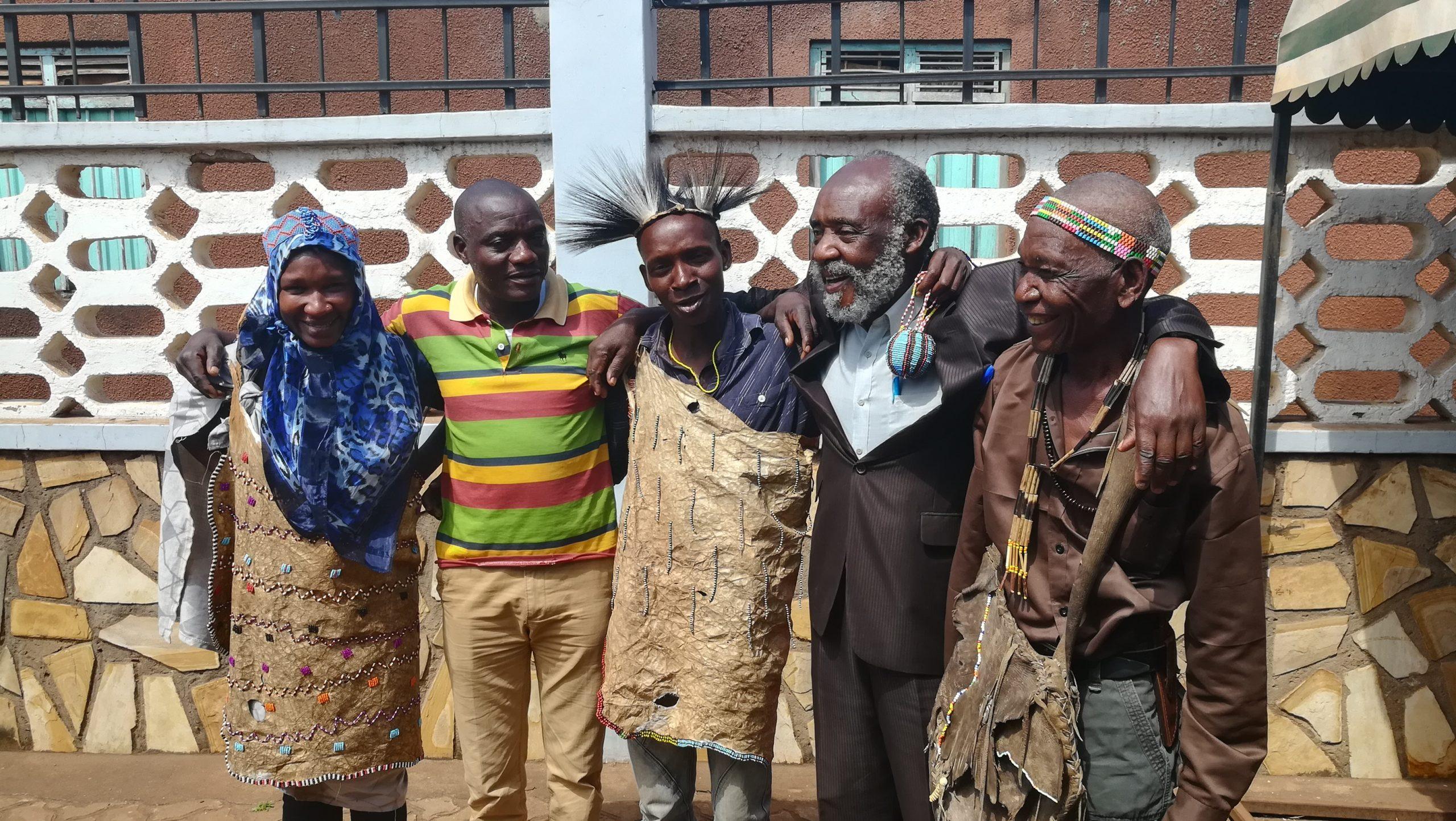 From left to right: Maria, Petro Malindeu, Sigwazi, Nicholas Nalingigwa Gideon, and Gudo Bala. (Members of the Hadzabe and Isanzu communities)