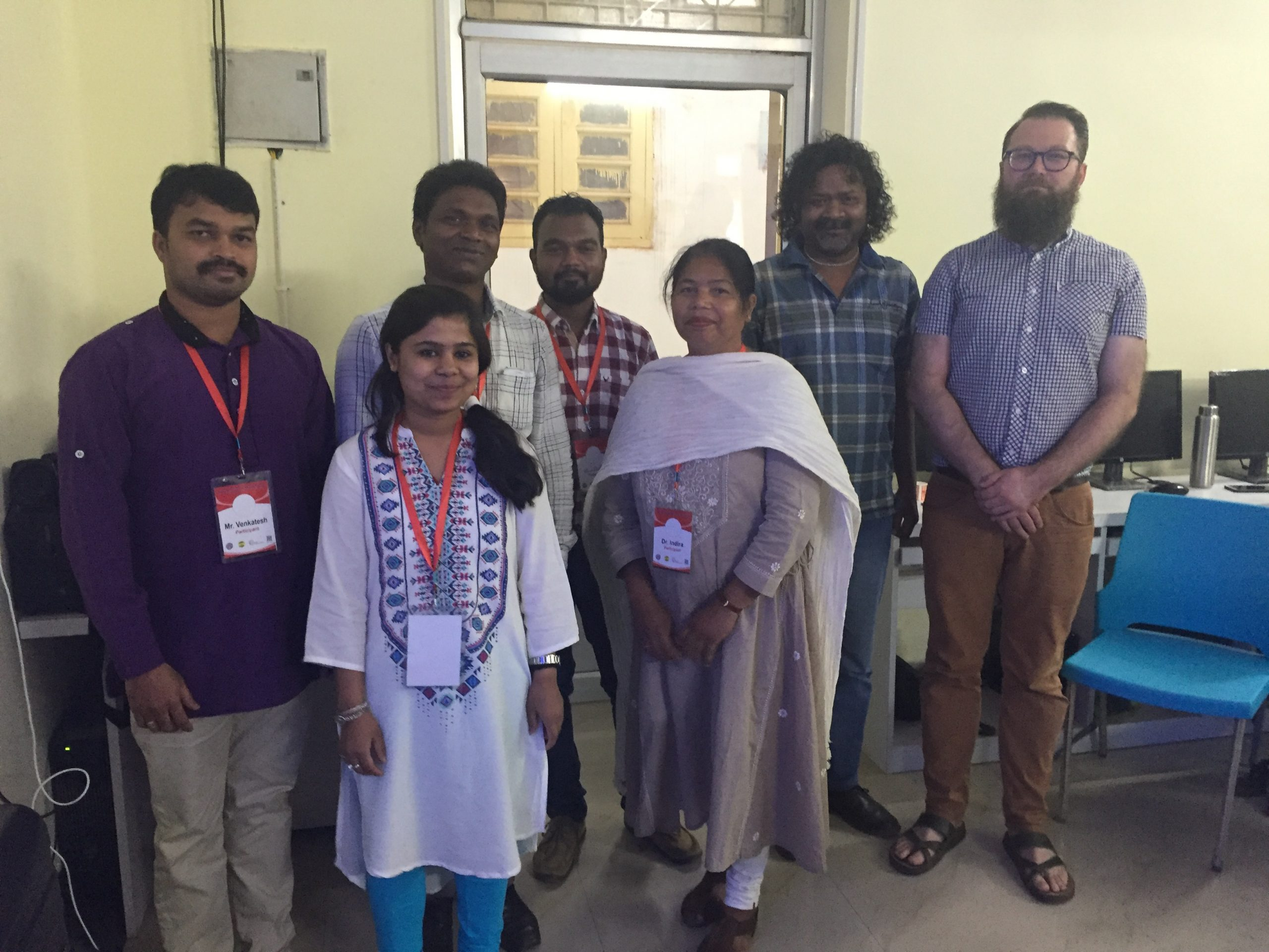 Felix Rau with participants of the documentation training in Ranchi, including Dr. Indira Birua from Ranchi University's Department of Tribal and Regional Languages (TRL)