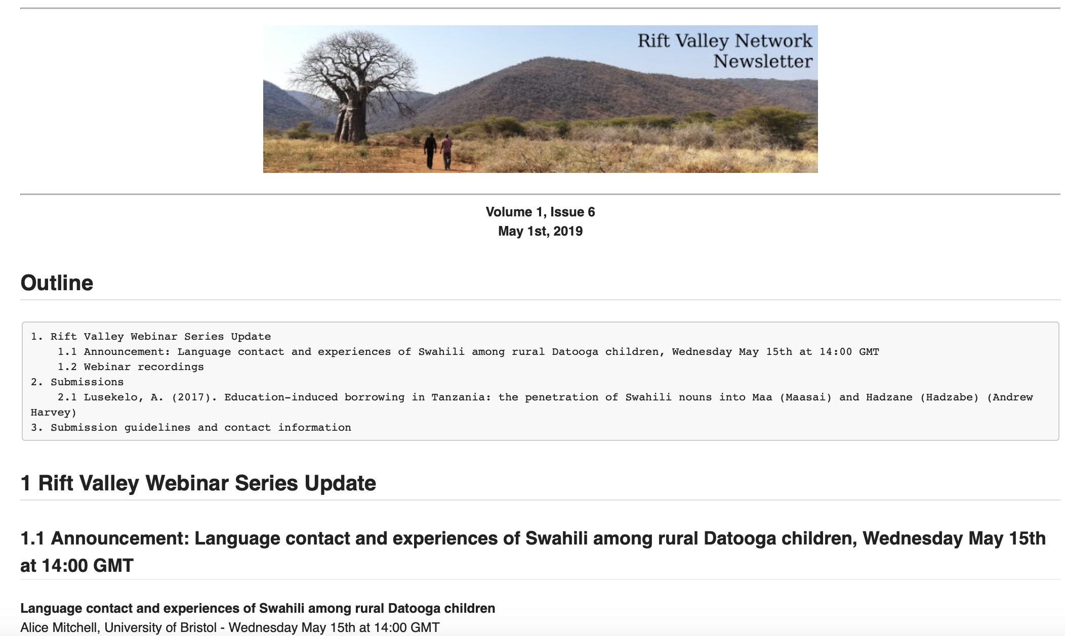 Snapshot of a Rift Valley Network fortnightly mailout