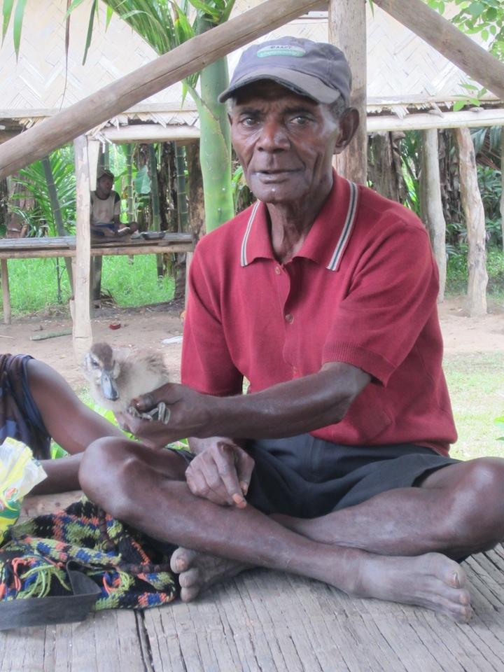Anton Mana holding a duckling. Akapmɨŋgɨ hamlet, Andamang village, Madang Province, Papua New guinea.