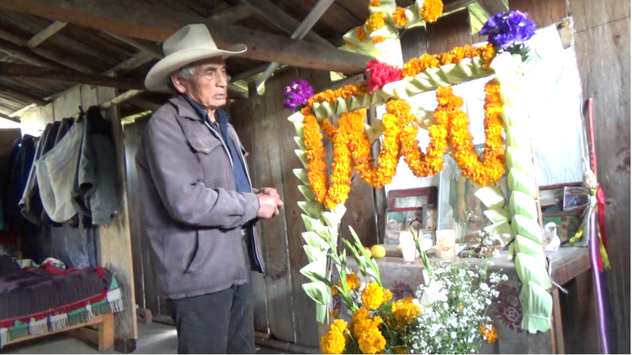 Anselmo García explains how the offerring for the Day of the Dead is made and the elements that the altar should have, as well as who taught him how to set it and how he learned to make bread for the dead. Access the video here.