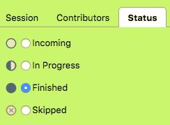 status options in lameta